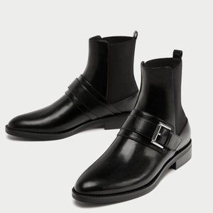 Zara | Black Leather Flat Ankle Boots with Buckles